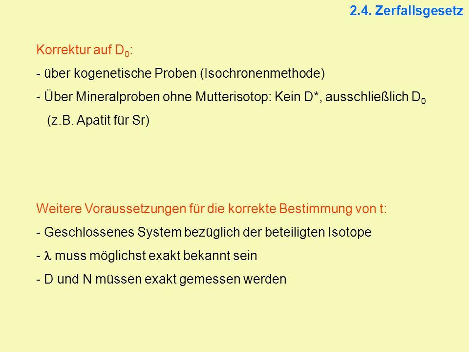 2.4. Zerfallsgesetz Korrektur auf D 0 : - über kogenetische Proben (Isochronenmethode) - Über Mineralproben ohne Mutterisotop: Kein D*, ausschließlich