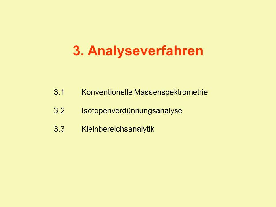 3.1Konventionelle Massenspektrometrie 3.2Isotopenverdünnungsanalyse 3.3Kleinbereichsanalytik 3. Analyseverfahren