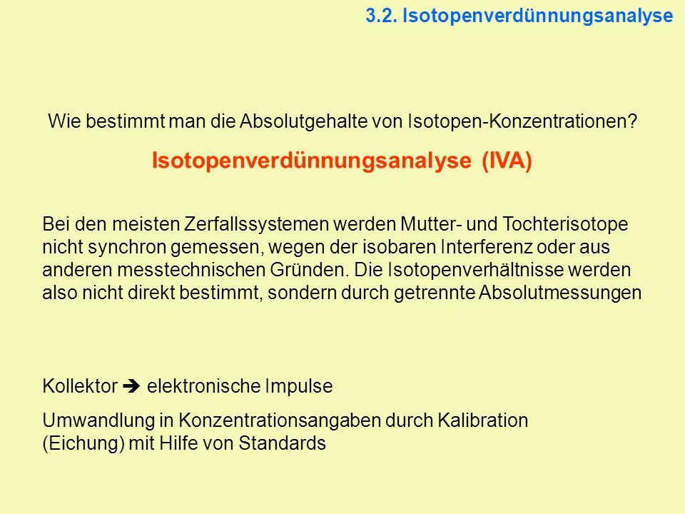 3.2. Isotopenverdünnungsanalyse Wie bestimmt man die Absolutgehalte von Isotopen-Konzentrationen? Isotopenverdünnungsanalyse (IVA) Bei den meisten Zer