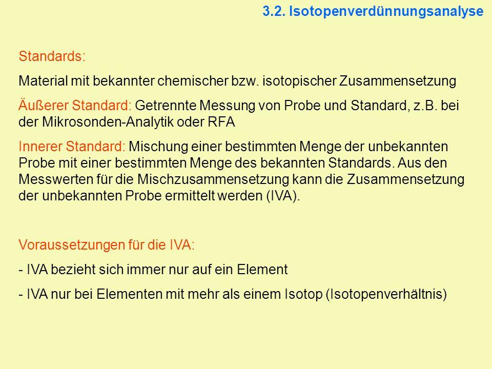 3.2. Isotopenverdünnungsanalyse Standards: Material mit bekannter chemischer bzw. isotopischer Zusammensetzung Äußerer Standard: Getrennte Messung von