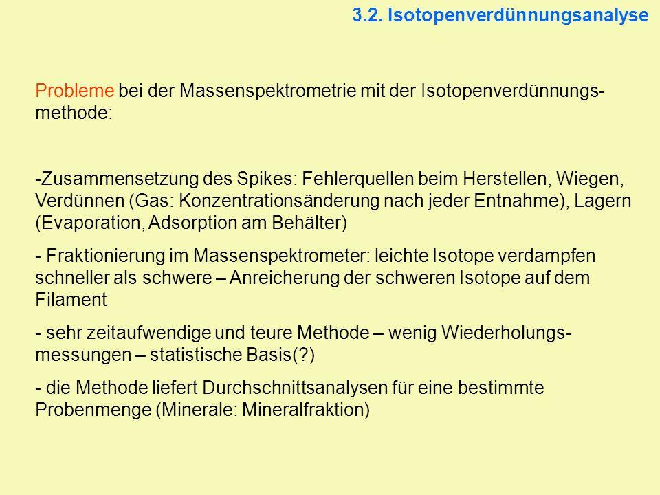 3.2. Isotopenverdünnungsanalyse Probleme bei der Massenspektrometrie mit der Isotopenverdünnungs- methode: -Zusammensetzung des Spikes: Fehlerquellen