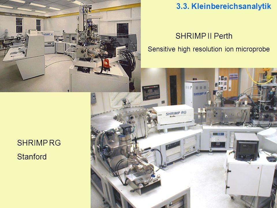 SHRIMP II Perth Sensitive high resolution ion microprobe SHRIMP RG Stanford 3.3. Kleinbereichsanalytik