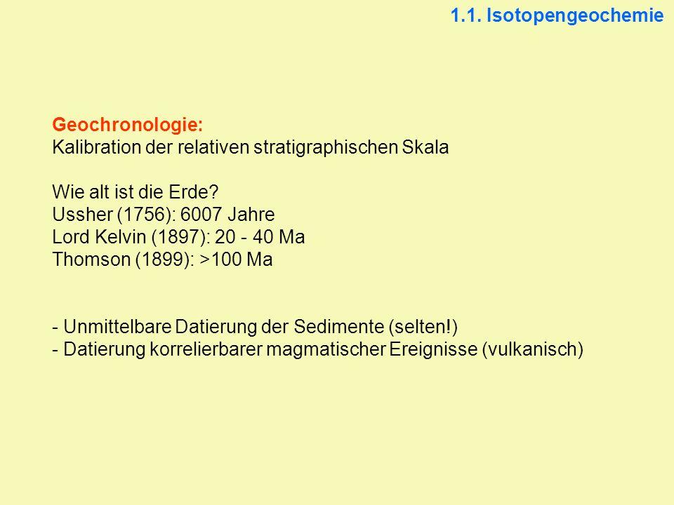 Geochronologie: Kalibration der relativen stratigraphischen Skala Wie alt ist die Erde? Ussher (1756): 6007 Jahre Lord Kelvin (1897): 20 - 40 Ma Thoms