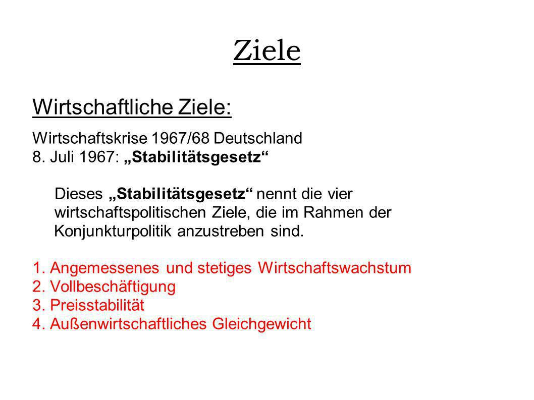 Ziele Wirtschaftliche Ziele: Wirtschaftskrise 1967/68 Deutschland 8. Juli 1967: Stabilitätsgesetz Dieses Stabilitätsgesetz nennt die vier wirtschaftsp