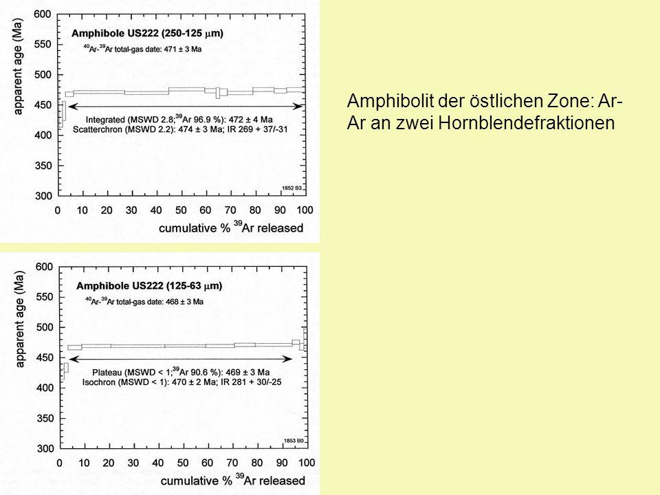 Amphibolit der östlichen Zone: Ar- Ar an zwei Hornblendefraktionen