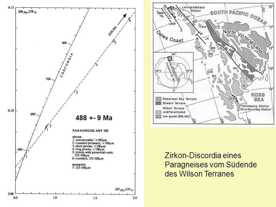 488 +- 9 Ma Zirkon-Discordia eines Paragneises vom Südende des Wilson Terranes