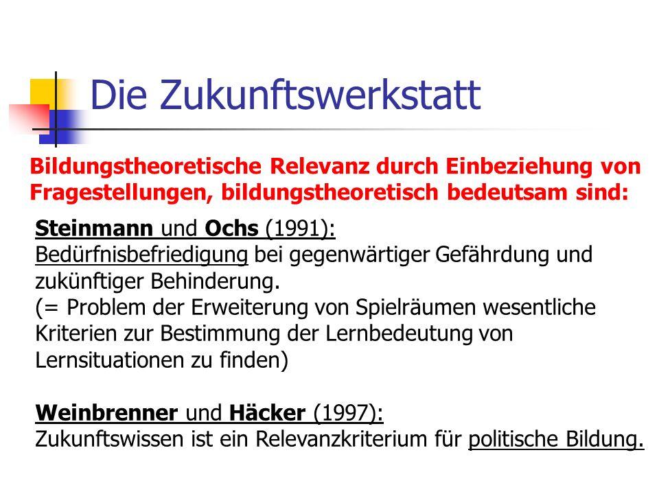 Die Zukunftswerkstatt Bildungstheoretische Relevanz durch Einbeziehung von Fragestellungen, bildungstheoretisch bedeutsam sind: Steinmann und Ochs (19