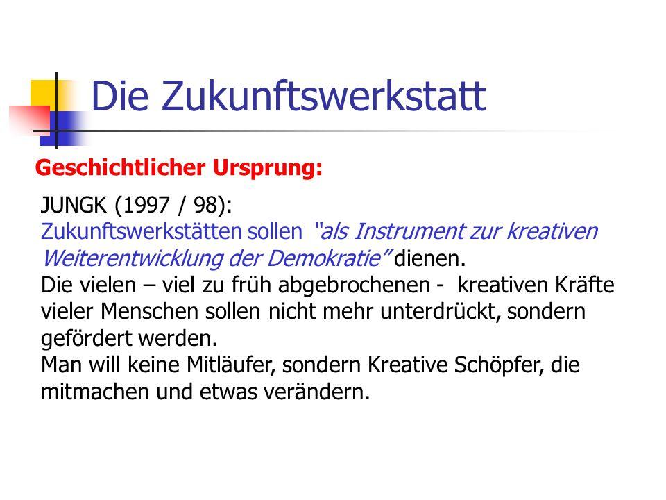 Die Zukunftswerkstatt Geschichtlicher Ursprung: JUNGK (1997 / 98): Zukunftswerkstätten sollen als Instrument zur kreativen Weiterentwicklung der Demok