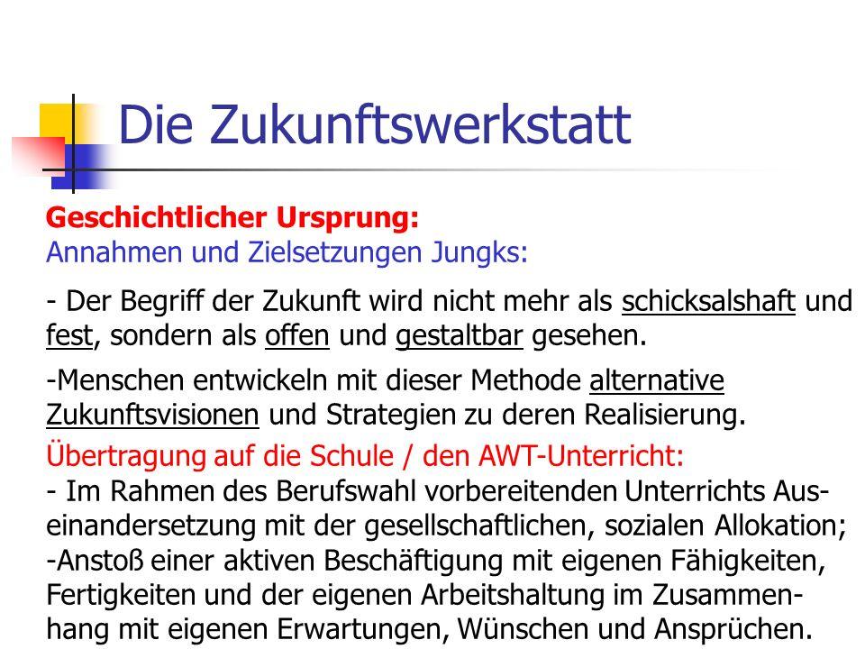 Die Zukunftswerkstatt Allgemeine Zielsetzung von Zukunftswerkstätten: Basisdemokratie Integration Ganzheitlichkeit Kreativität Kommunikation Provokation
