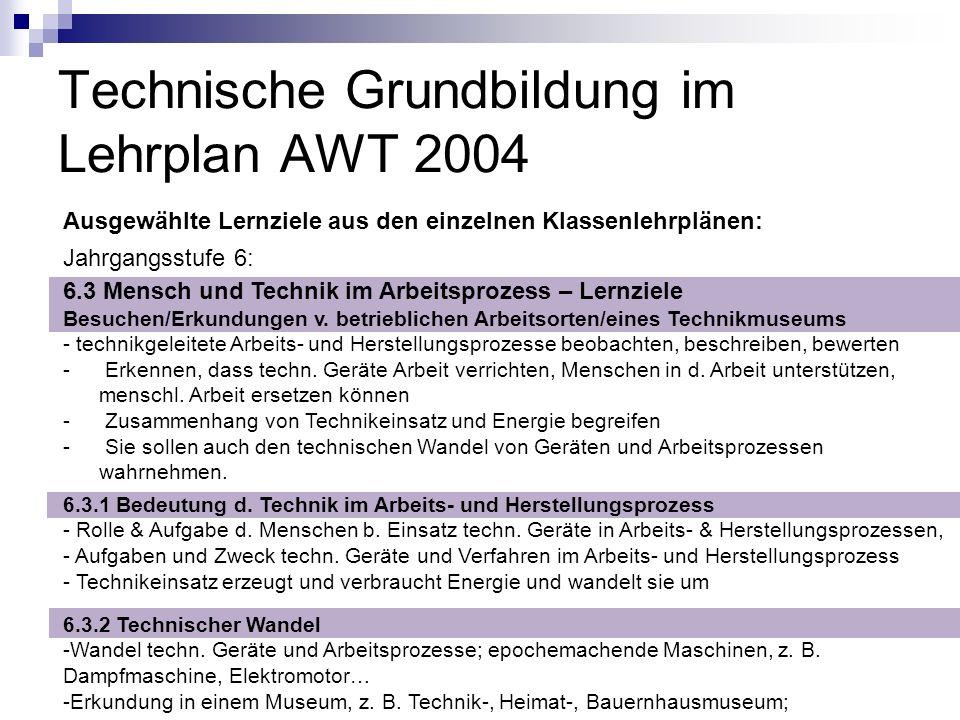 Technische Grundbildung im Lehrplan AWT 2004 Ausgewählte Lernziele aus den einzelnen Klassenlehrplänen: Jahrgangsstufe 6: 6.3 Mensch und Technik im Ar