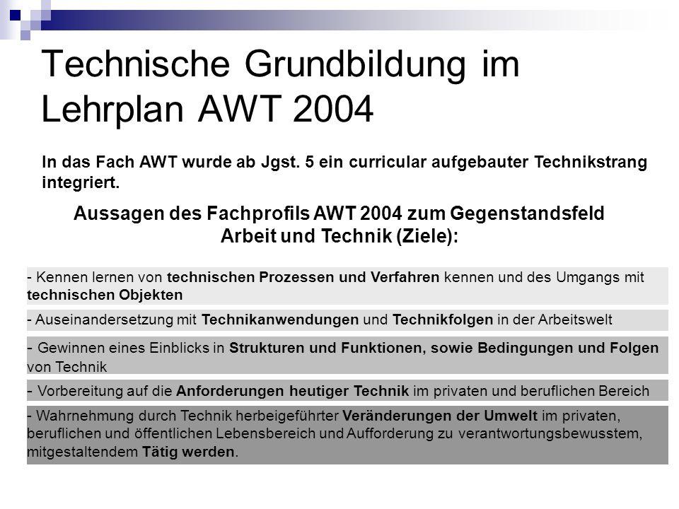 Technische Grundbildung im Lehrplan AWT 2004 In das Fach AWT wurde ab Jgst. 5 ein curricular aufgebauter Technikstrang integriert. Aussagen des Fachpr