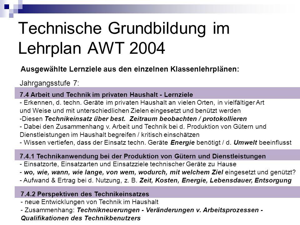 Technische Grundbildung im Lehrplan AWT 2004 Ausgewählte Lernziele aus den einzelnen Klassenlehrplänen: Jahrgangsstufe 7: 7.4 Arbeit und Technik im pr