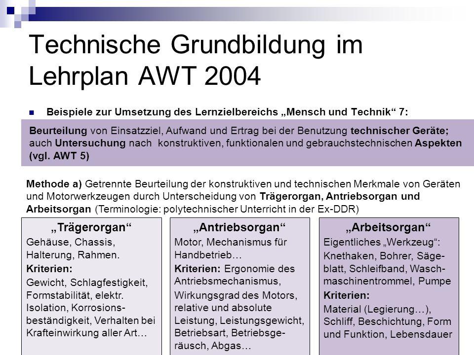 Technische Grundbildung im Lehrplan AWT 2004 Beispiele zur Umsetzung des Lernzielbereichs Mensch und Technik 7: Beurteilung von Einsatzziel, Aufwand u