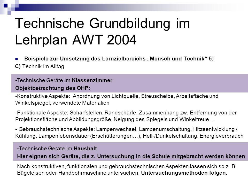 Technische Grundbildung im Lehrplan AWT 2004 Beispiele zur Umsetzung des Lernzielbereichs Mensch und Technik 5: C) Technik im Alltag -Technische Gerät