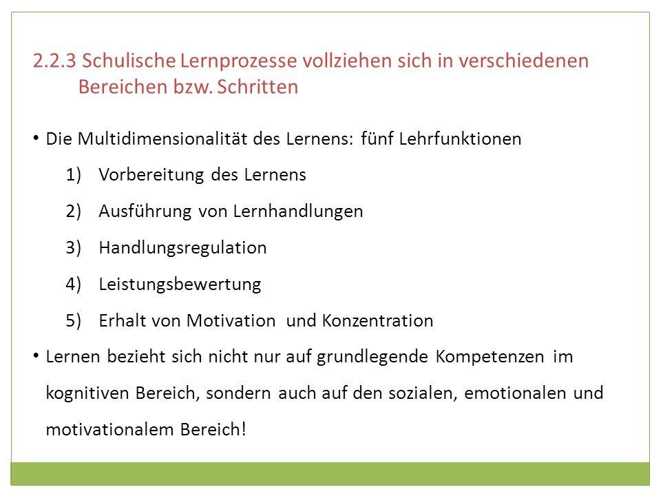 Die Multidimensionalität des Lernens: fünf Lehrfunktionen 1)Vorbereitung des Lernens 2)Ausführung von Lernhandlungen 3)Handlungsregulation 4)Leistungs