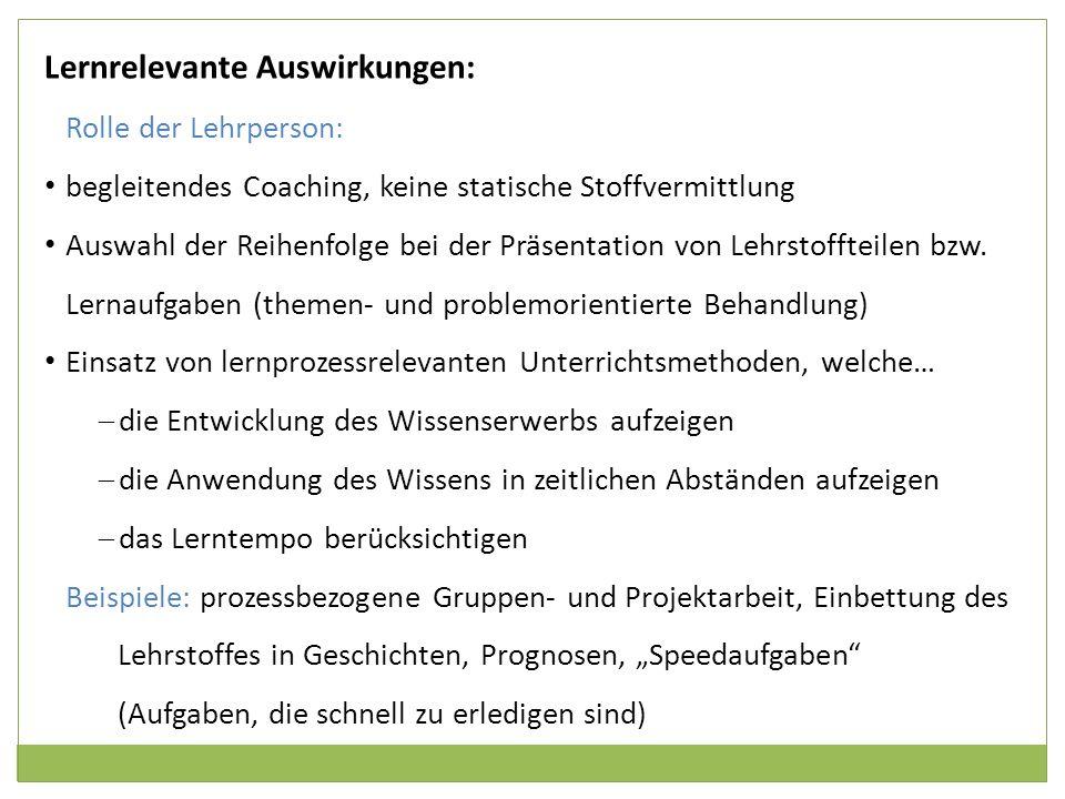 Lernrelevante Auswirkungen: Rolle der Lehrperson: begleitendes Coaching, keine statische Stoffvermittlung Auswahl der Reihenfolge bei der Präsentation