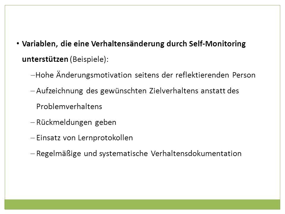 Variablen, die eine Verhaltensänderung durch Self-Monitoring unterstützen (Beispiele): Hohe Änderungsmotivation seitens der reflektierenden Person Auf