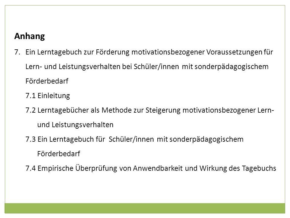 Anhang 7.Ein Lerntagebuch zur Förderung motivationsbezogener Voraussetzungen für Lern- und Leistungsverhalten bei Schüler/innen mit sonderpädagogische