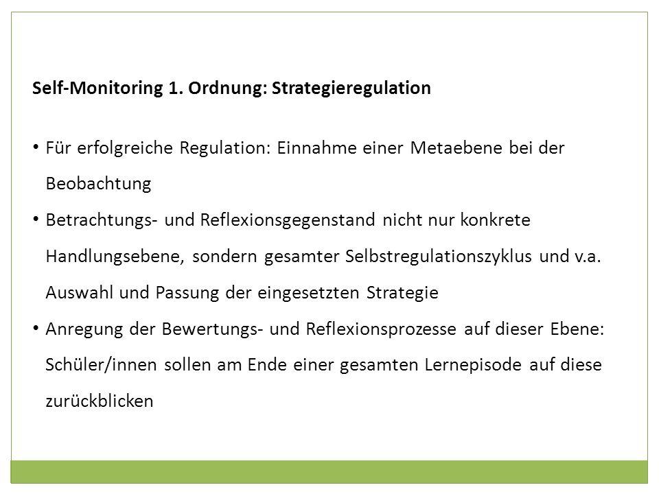 Self-Monitoring 1. Ordnung: Strategieregulation Für erfolgreiche Regulation: Einnahme einer Metaebene bei der Beobachtung Betrachtungs- und Reflexions