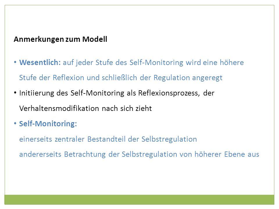 Anmerkungen zum Modell Wesentlich: auf jeder Stufe des Self-Monitoring wird eine höhere Stufe der Reflexion und schließlich der Regulation angeregt In