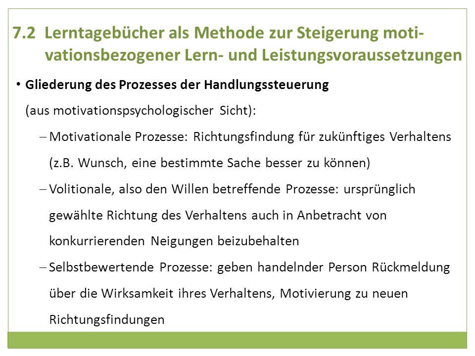 7.2 Lerntagebücher als Methode zur Steigerung moti- vationsbezogener Lern- und Leistungsvoraussetzungen Gliederung des Prozesses der Handlungssteuerun
