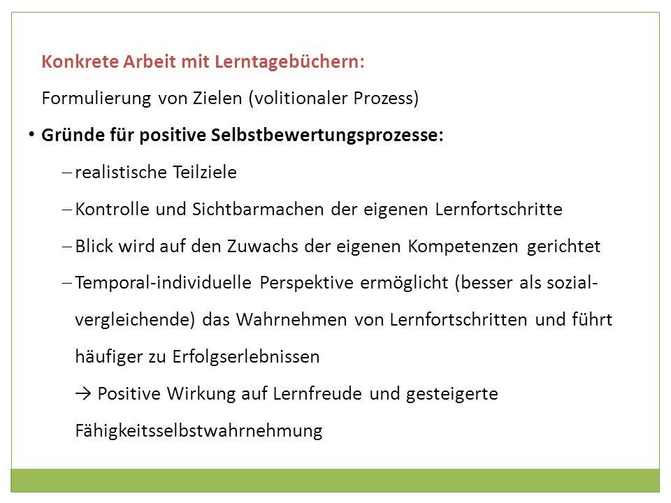 Konkrete Arbeit mit Lerntagebüchern: Formulierung von Zielen (volitionaler Prozess) Gründe für positive Selbstbewertungsprozesse: realistische Teilzie