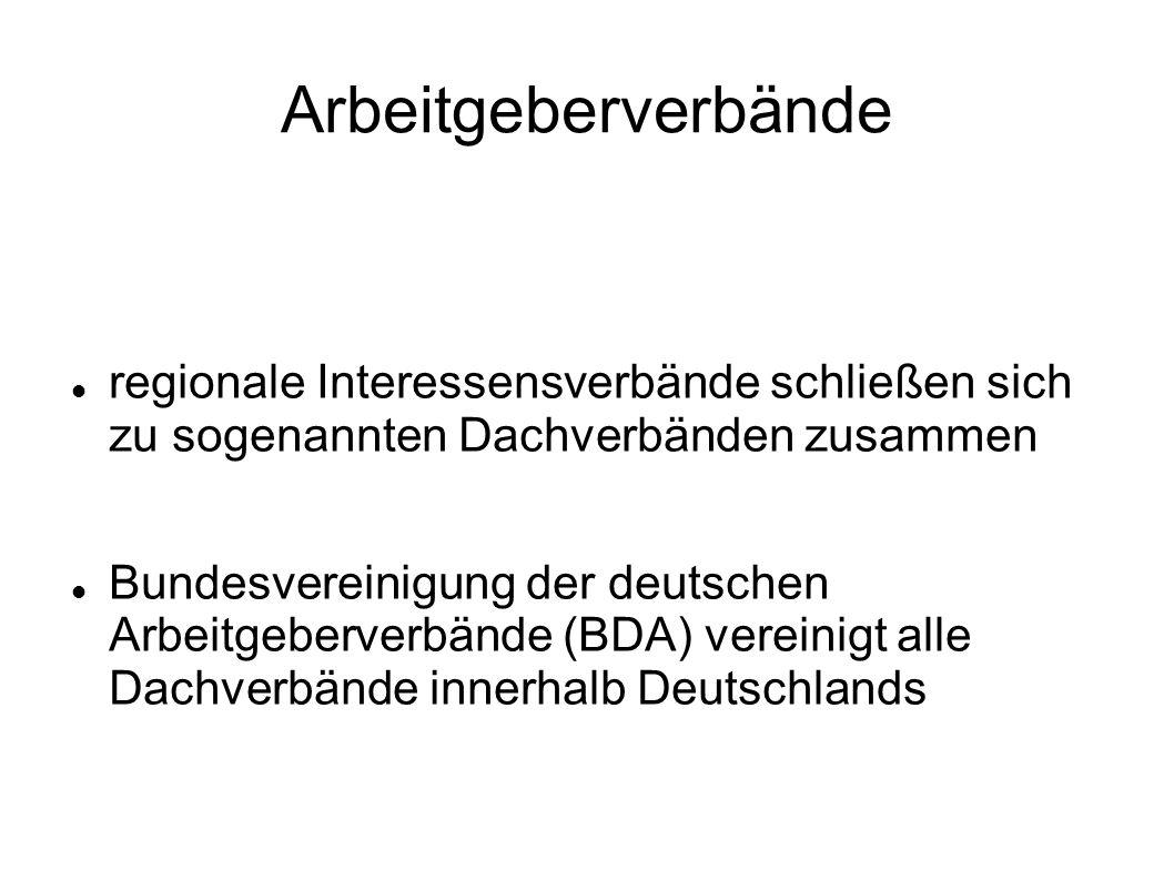 Arbeitgeberverbände regionale Interessensverbände schließen sich zu sogenannten Dachverbänden zusammen Bundesvereinigung der deutschen Arbeitgeberverb