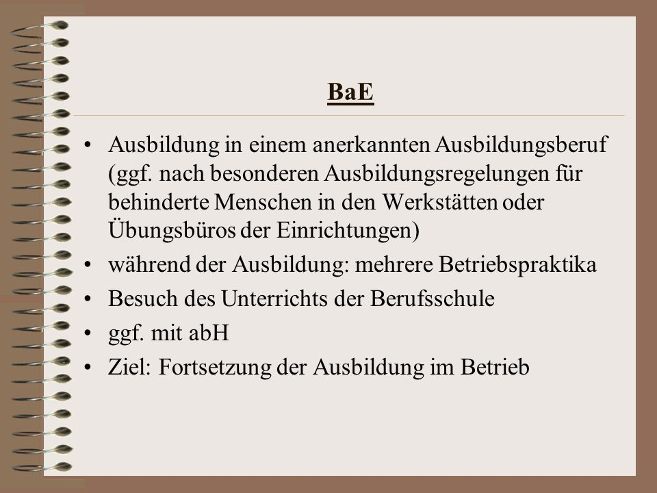 BaE Ausbildung in einem anerkannten Ausbildungsberuf (ggf. nach besonderen Ausbildungsregelungen für behinderte Menschen in den Werkstätten oder Übung