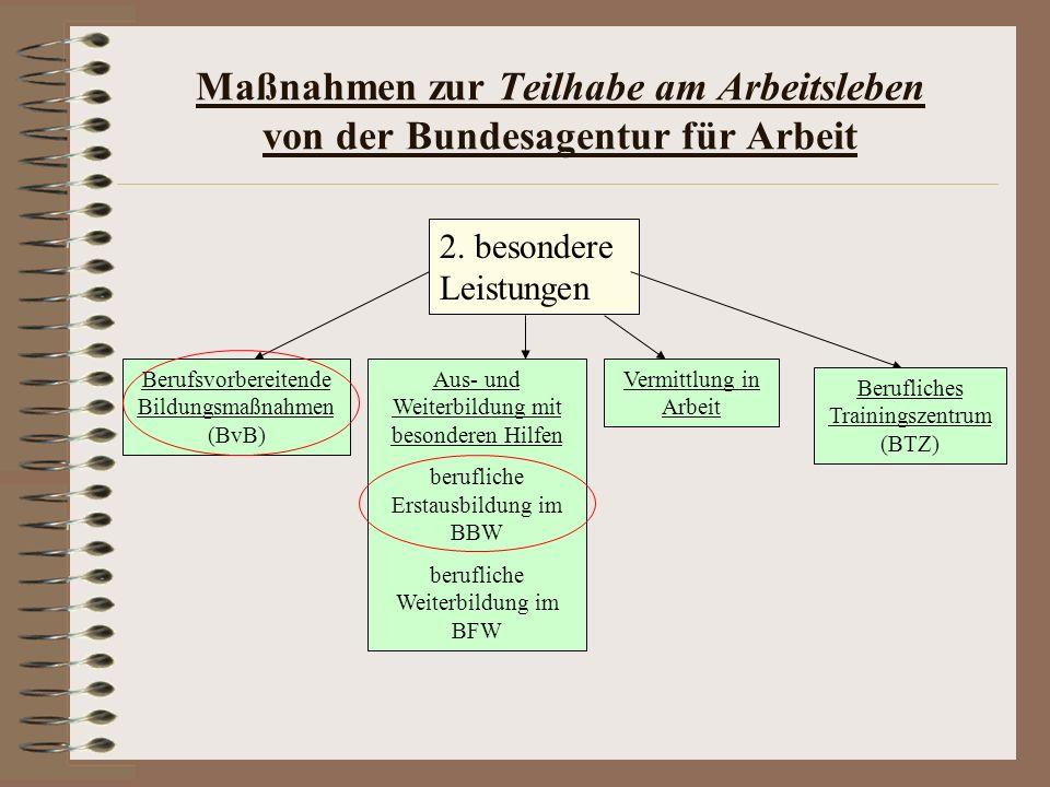 Maßnahmen zur Teilhabe am Arbeitsleben von der Bundesagentur für Arbeit 2. besondere Leistungen Berufsvorbereitende Bildungsmaßnahmen (BvB) Aus- und W
