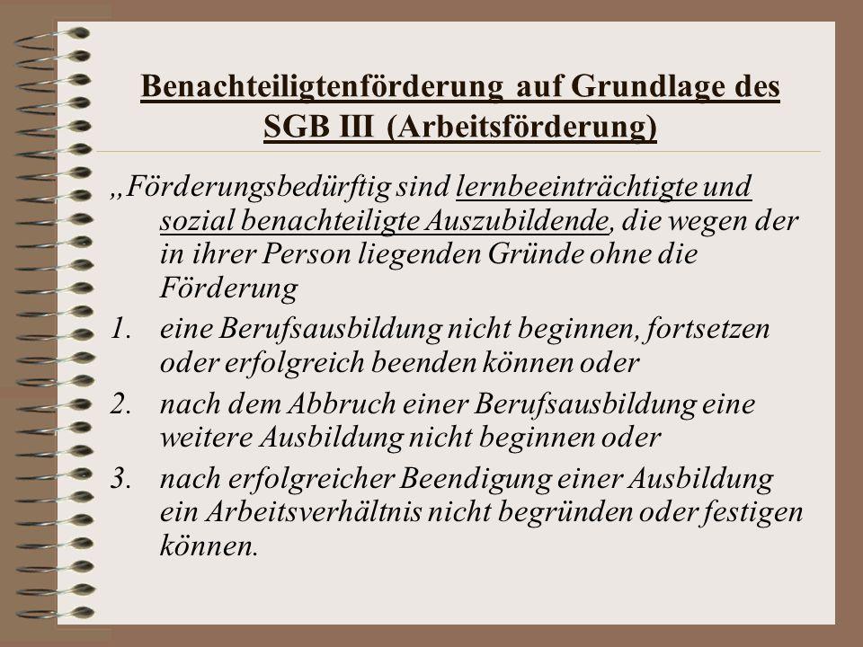 Benachteiligtenförderung auf Grundlage des SGB III (Arbeitsförderung) Förderungsbedürftig sind lernbeeinträchtigte und sozial benachteiligte Auszubild