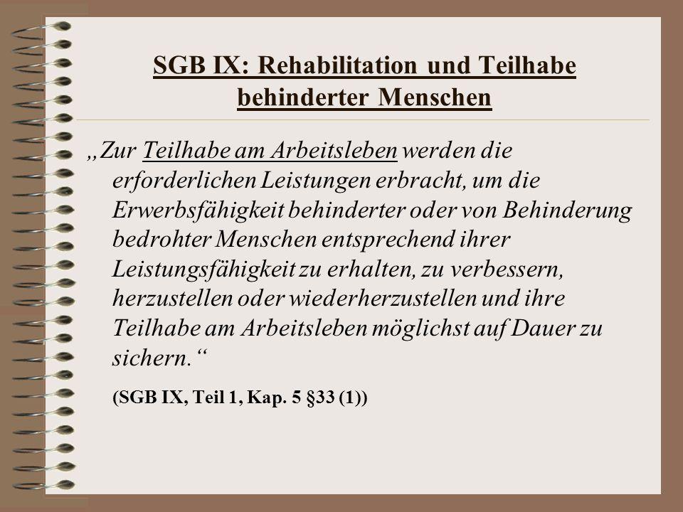 SGB IX: Rehabilitation und Teilhabe behinderter Menschen Zur Teilhabe am Arbeitsleben werden die erforderlichen Leistungen erbracht, um die Erwerbsfäh