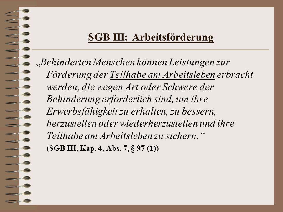 SGB III: Arbeitsförderung Behinderten Menschen können Leistungen zur Förderung der Teilhabe am Arbeitsleben erbracht werden, die wegen Art oder Schwer