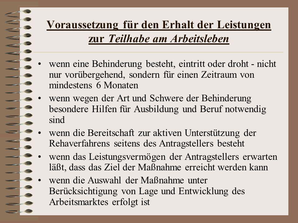 Literatur http://www.ausbildungberufchancen.de/webcom/sho w_page.php/_c-1520/_nr-1/i.html (29.1.2009)http://www.ausbildungberufchancen.de/webcom/sho w_page.php/_c-1520/_nr-1/i.html http://bundesrecht.juris.de (29.1.2009)http://bundesrecht.juris.de Bundesagentur für Arbeit (Hrsg.), Merkblatt 12, Dienste und Leistungen der Agentur für Arbeit - Förderung der Teilhabe am Arbeitsleben für Arbeitnehmerinnen und Arbeitnehmer, Mai 2007 BMBF (Bundesministerium für Bildung und Forschung): Berufliche Qualifizierung Jugendlicher mit besonderem Förderbedarf- Benachteiligtenförderung-, Bonn, Berlin 2005