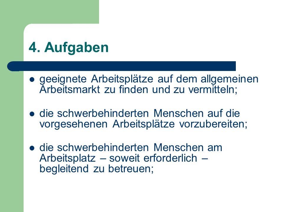 4. Aufgaben geeignete Arbeitsplätze auf dem allgemeinen Arbeitsmarkt zu finden und zu vermitteln; die schwerbehinderten Menschen auf die vorgesehenen
