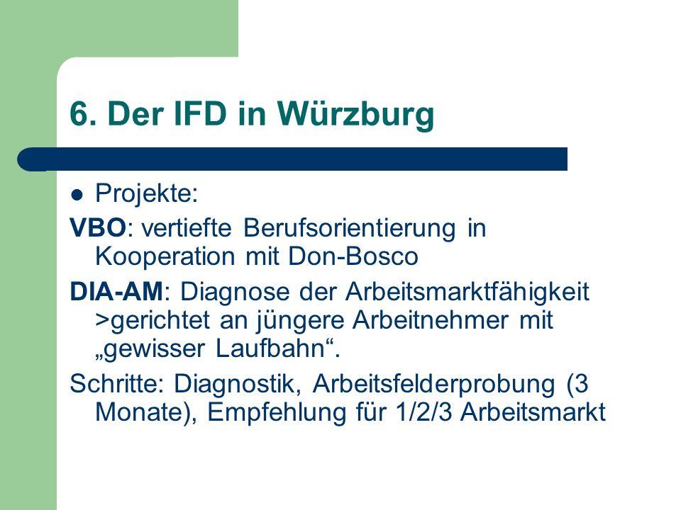 6. Der IFD in Würzburg Projekte: VBO: vertiefte Berufsorientierung in Kooperation mit Don-Bosco DIA-AM: Diagnose der Arbeitsmarktfähigkeit >gerichtet