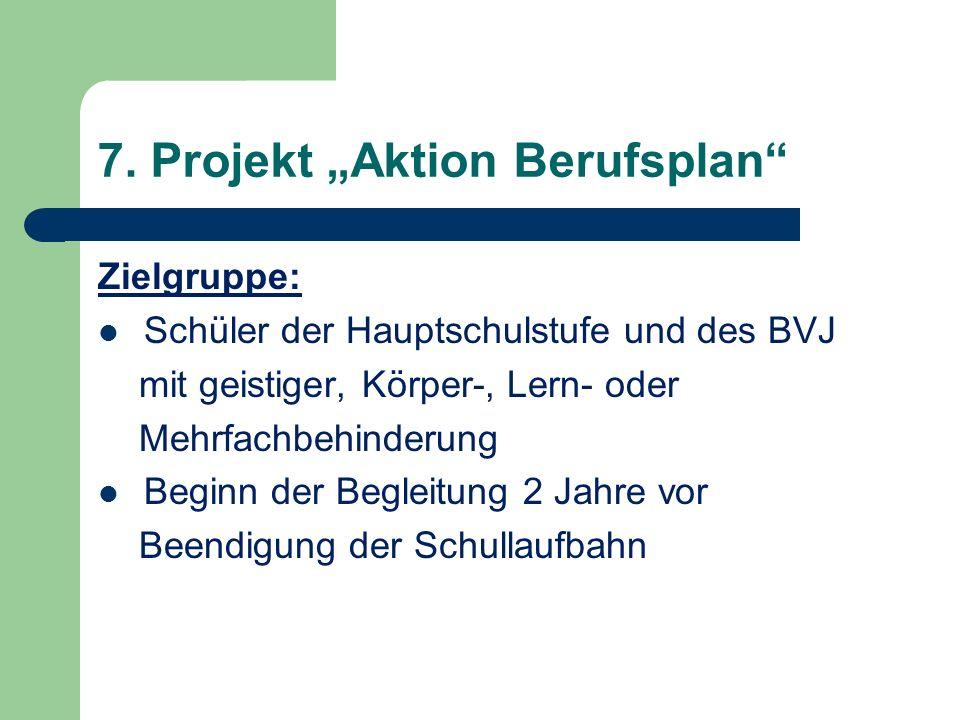 7. Projekt Aktion Berufsplan Zielgruppe: Schüler der Hauptschulstufe und des BVJ mit geistiger, Körper-, Lern- oder Mehrfachbehinderung Beginn der Beg