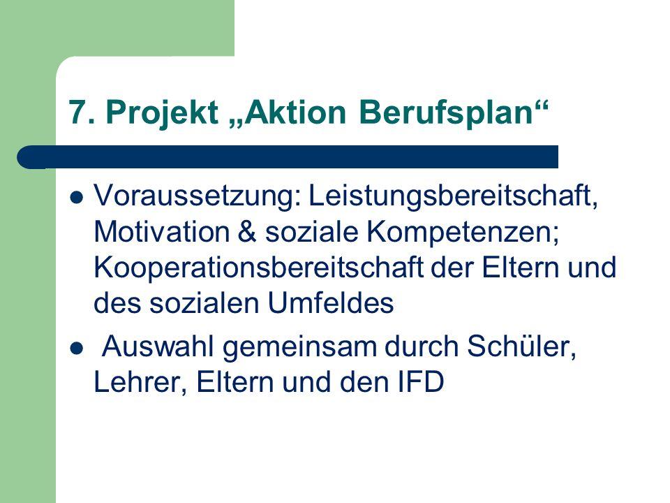 7. Projekt Aktion Berufsplan Voraussetzung: Leistungsbereitschaft, Motivation & soziale Kompetenzen; Kooperationsbereitschaft der Eltern und des sozia