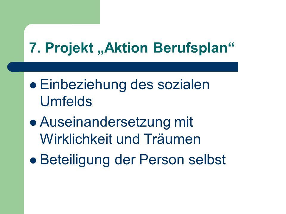 7. Projekt Aktion Berufsplan Einbeziehung des sozialen Umfelds Auseinandersetzung mit Wirklichkeit und Träumen Beteiligung der Person selbst