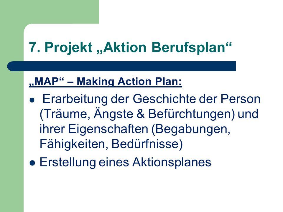 7. Projekt Aktion Berufsplan MAP – Making Action Plan: Erarbeitung der Geschichte der Person (Träume, Ängste & Befürchtungen) und ihrer Eigenschaften