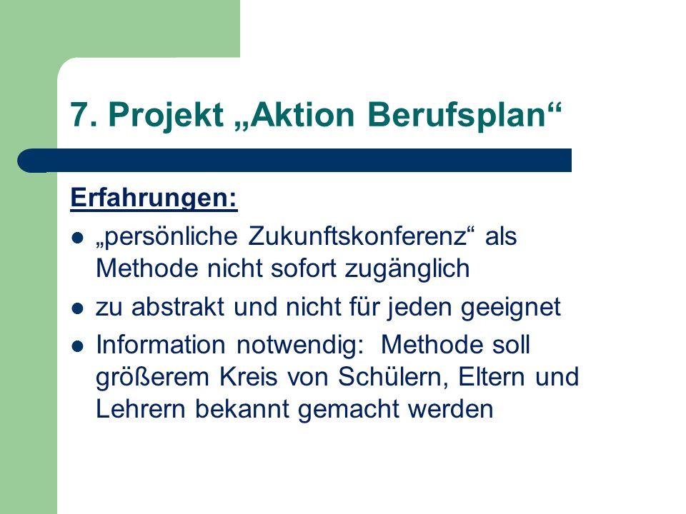 7. Projekt Aktion Berufsplan Erfahrungen: persönliche Zukunftskonferenz als Methode nicht sofort zugänglich zu abstrakt und nicht für jeden geeignet I