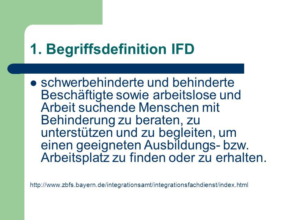 1. Begriffsdefinition IFD schwerbehinderte und behinderte Beschäftigte sowie arbeitslose und Arbeit suchende Menschen mit Behinderung zu beraten, zu u