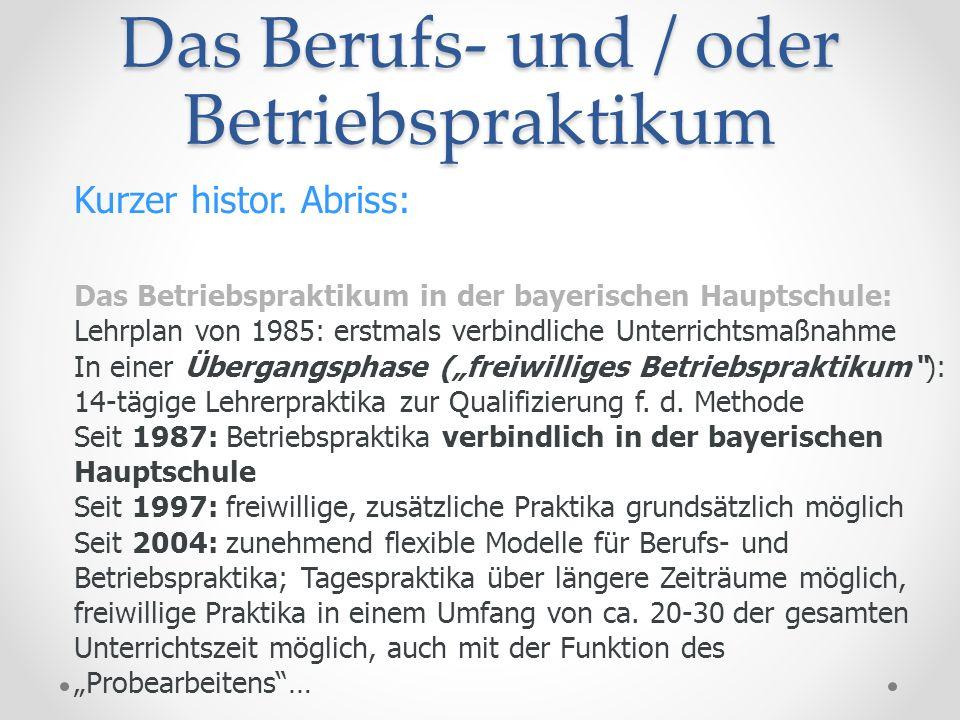 Das Berufs- und / oder Betriebspraktikum Kurzer histor. Abriss: Das Betriebspraktikum in der bayerischen Hauptschule: Lehrplan von 1985: erstmals verb
