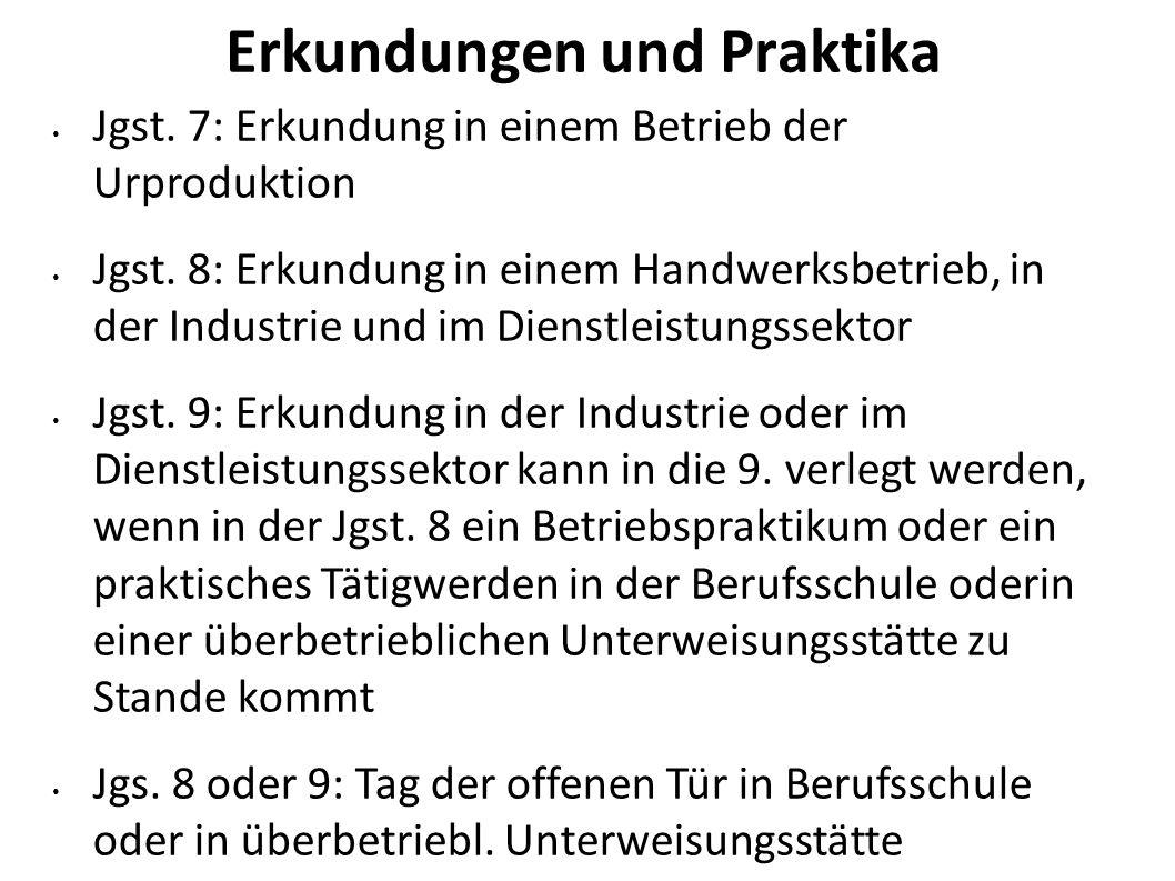 Erkundungen und Praktika Jgst. 7: Erkundung in einem Betrieb der Urproduktion Jgst. 8: Erkundung in einem Handwerksbetrieb, in der Industrie und im Di