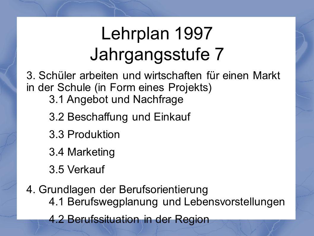 Lehrplan 1997 Jahrgangsstufe 7 3. Schüler arbeiten und wirtschaften für einen Markt in der Schule (in Form eines Projekts) 3.1 Angebot und Nachfrage 3