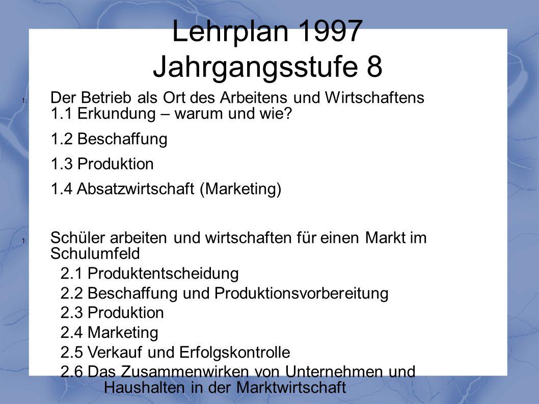 Lehrplan 1997 Jahrgangsstufe 8 1. Der Betrieb als Ort des Arbeitens und Wirtschaftens 1.1 Erkundung – warum und wie? 1.2 Beschaffung 1.3 Produktion 1.