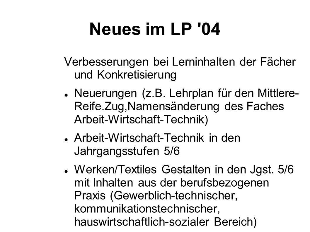 Neues im LP '04 Verbesserungen bei Lerninhalten der Fächer und Konkretisierung Neuerungen (z.B. Lehrplan für den Mittlere- Reife.Zug,Namensänderung de