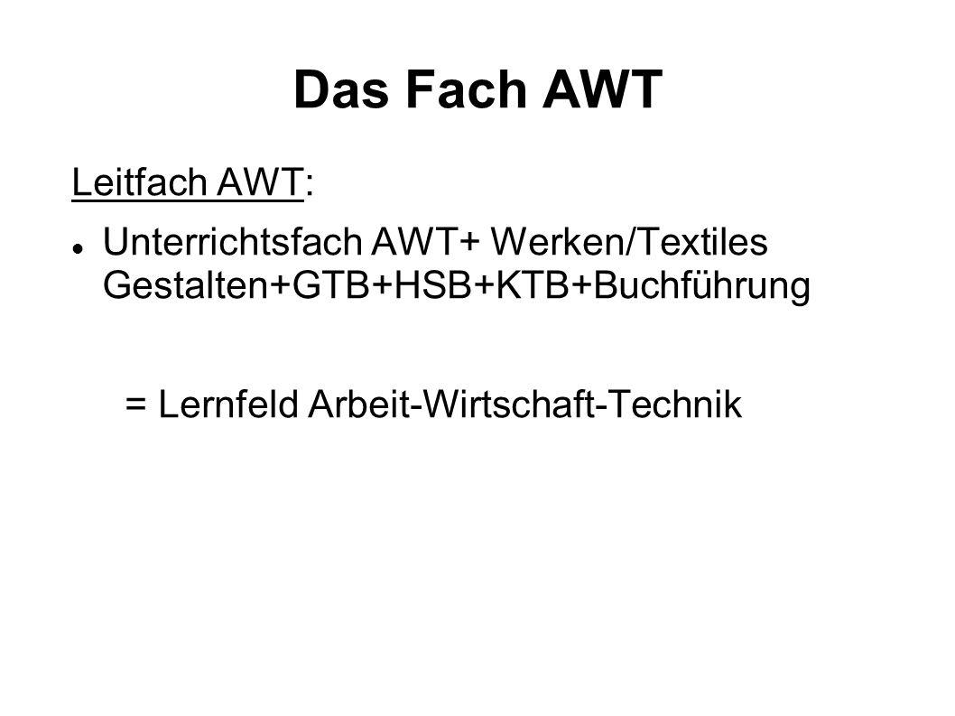 Das Fach AWT Leitfach AWT: Unterrichtsfach AWT+ Werken/Textiles Gestalten+GTB+HSB+KTB+Buchführung = Lernfeld Arbeit-Wirtschaft-Technik