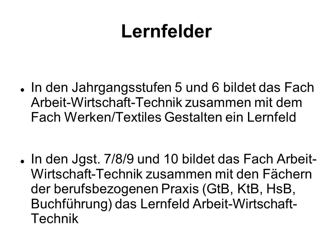 Lernfelder In den Jahrgangsstufen 5 und 6 bildet das Fach Arbeit-Wirtschaft-Technik zusammen mit dem Fach Werken/Textiles Gestalten ein Lernfeld In de