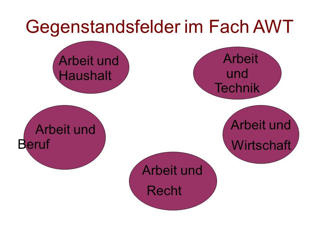 Arbeit und Technik Gegenstandsfelder im Fach AWT Arbeit und Haushalt Arbeit und Wirtschaft Arbeit und Recht Arbeit und Beruf