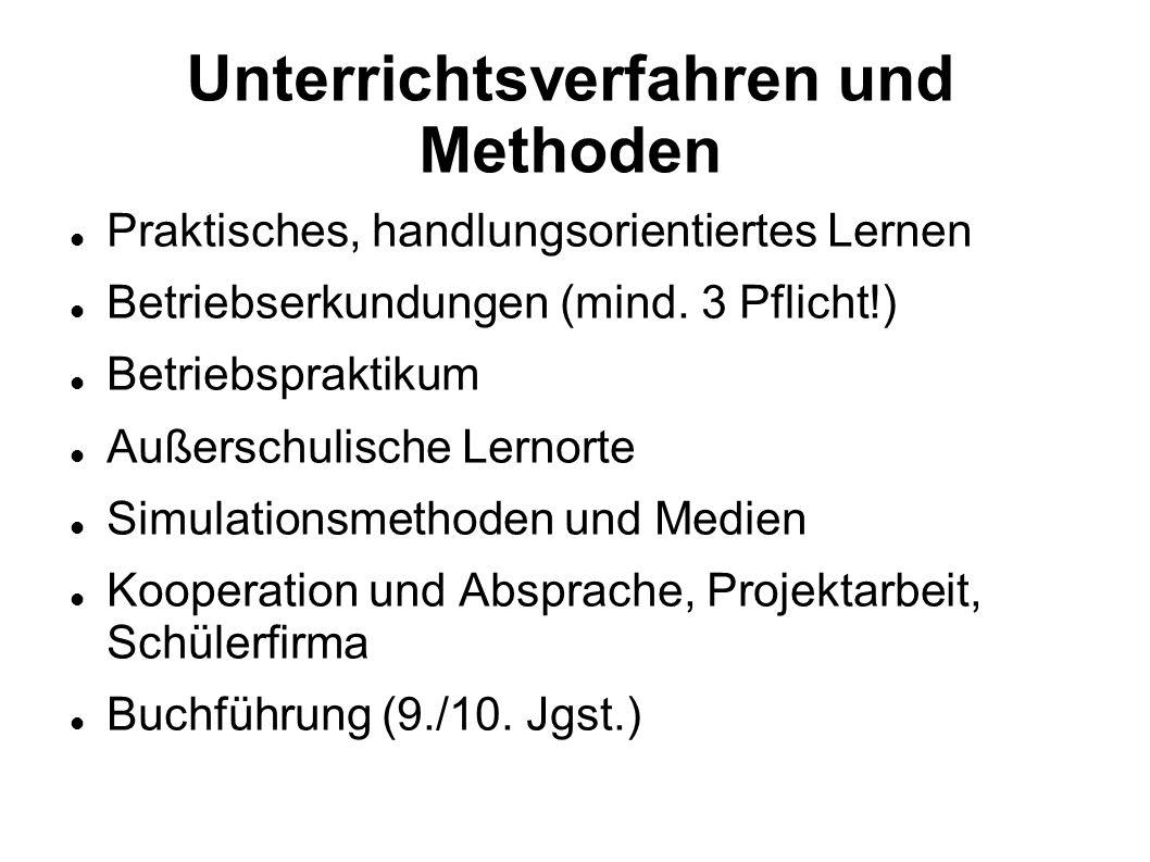Unterrichtsverfahren und Methoden Praktisches, handlungsorientiertes Lernen Betriebserkundungen (mind. 3 Pflicht!) Betriebspraktikum Außerschulische L